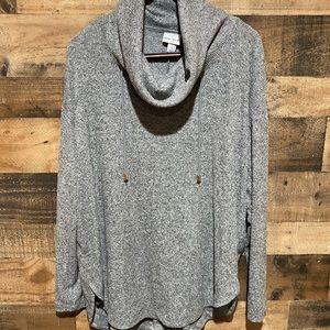 Ava Viv 2X Gray Cowl Sweatshirt Draw Strings